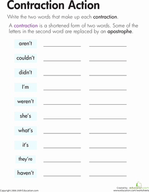 Contractions Worksheet 3rd Grade Luxury Contraction Action
