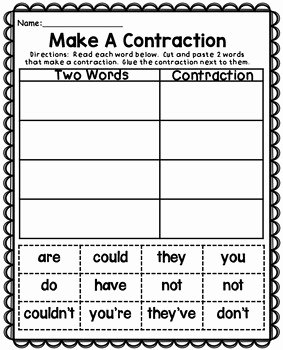 Contractions Worksheet 3rd Grade Luxury Contractions Worksheets by Teaching Second Grade