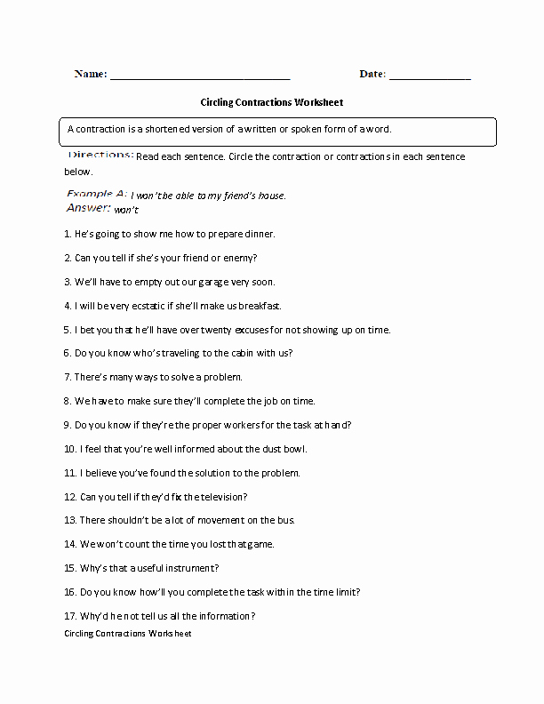 Contractions Worksheet 3rd Grade New 17 Best Of 3rd Grade Worksheets Contraction