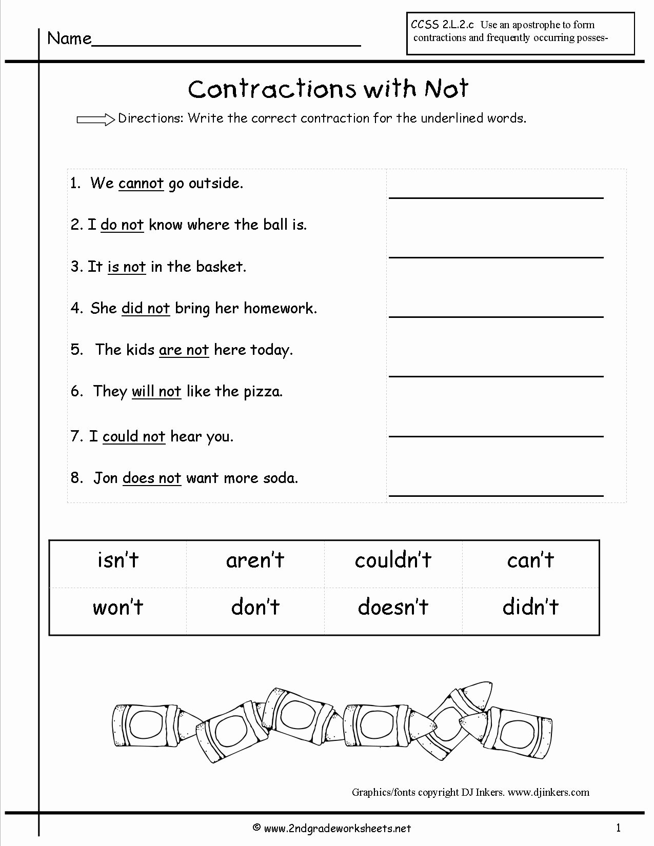 Contractions Worksheet 3rd Grade New Free Contractions Worksheets and Printouts