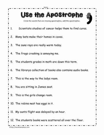 Contractions Worksheet 3rd Grade Unique Apostrophe Worksheet Education