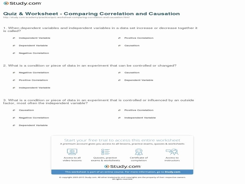 Correlation Vs Causation Worksheet Luxury Correlation Vs Causation Worksheet Free Printable Worksheets