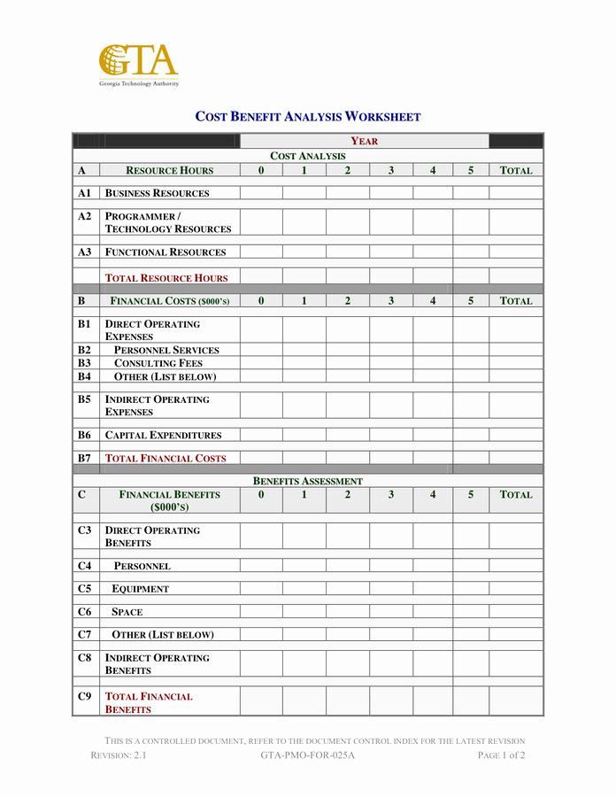 Cost Benefit Analysis Worksheet Beautiful Cost Benefit Analysis Worksheet In Word and Pdf formats