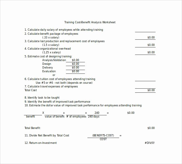 Cost Benefit Analysis Worksheet Fresh 18 Cost Benefit Analysis Templates Word Pdf
