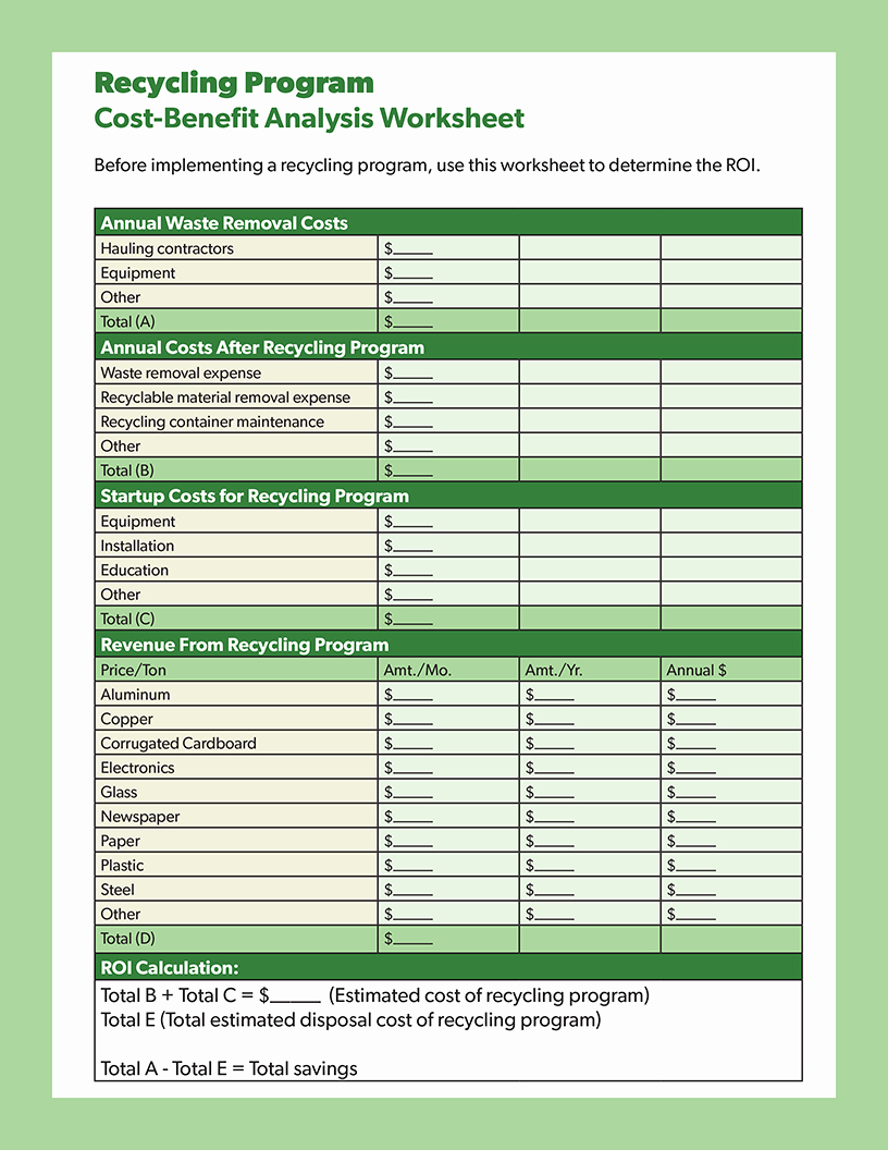Cost Benefit Analysis Worksheet Luxury White Papers Reports & Cleaning Industry Proposals
