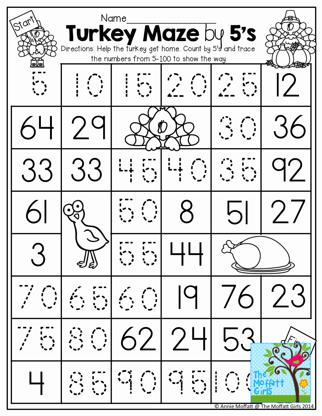 Count by 5s Worksheet Awesome Count by 5 S Worksheet by Tracing the Path From the Turkey
