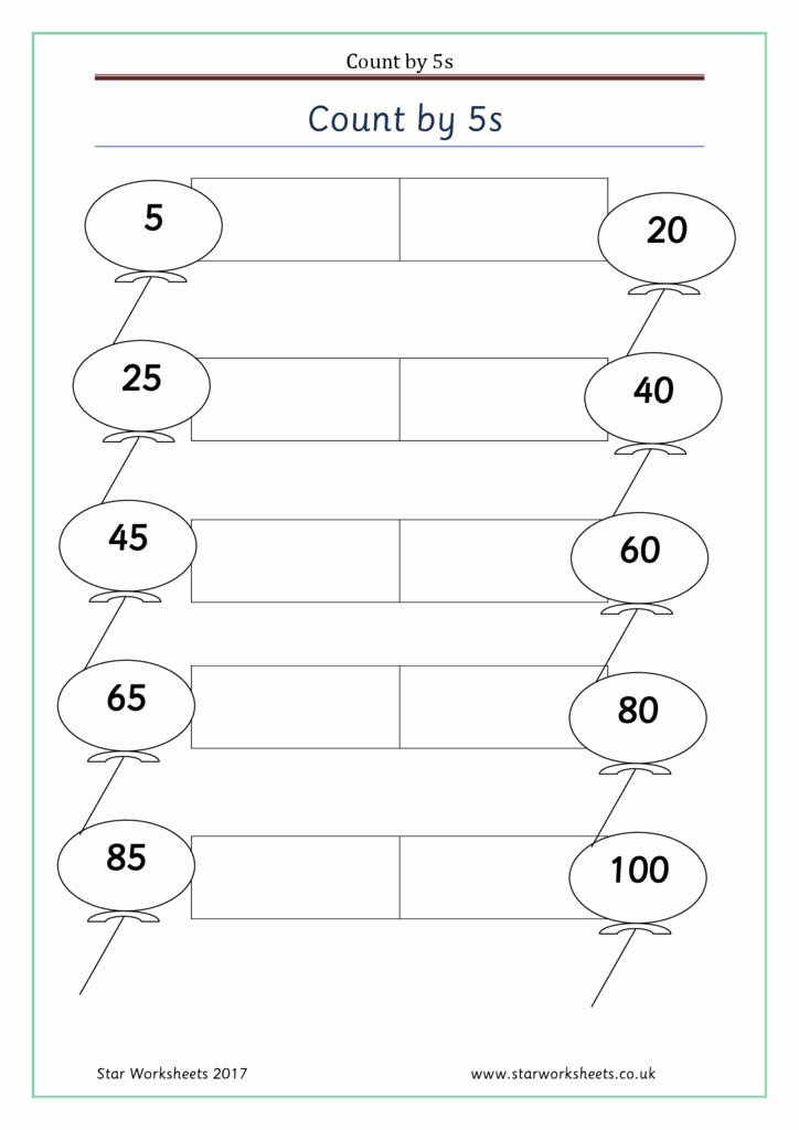 Count by 5s Worksheet Awesome Count by 5s 2 Star Worksheets