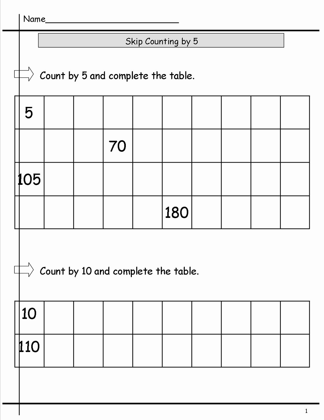 Count by 5s Worksheet Beautiful Count by 5s Worksheets Printable