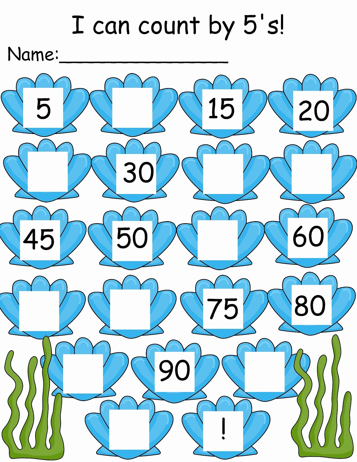 Count by 5s Worksheet Unique the Crazy Pre K Classroom Under the Sea Ocean themed