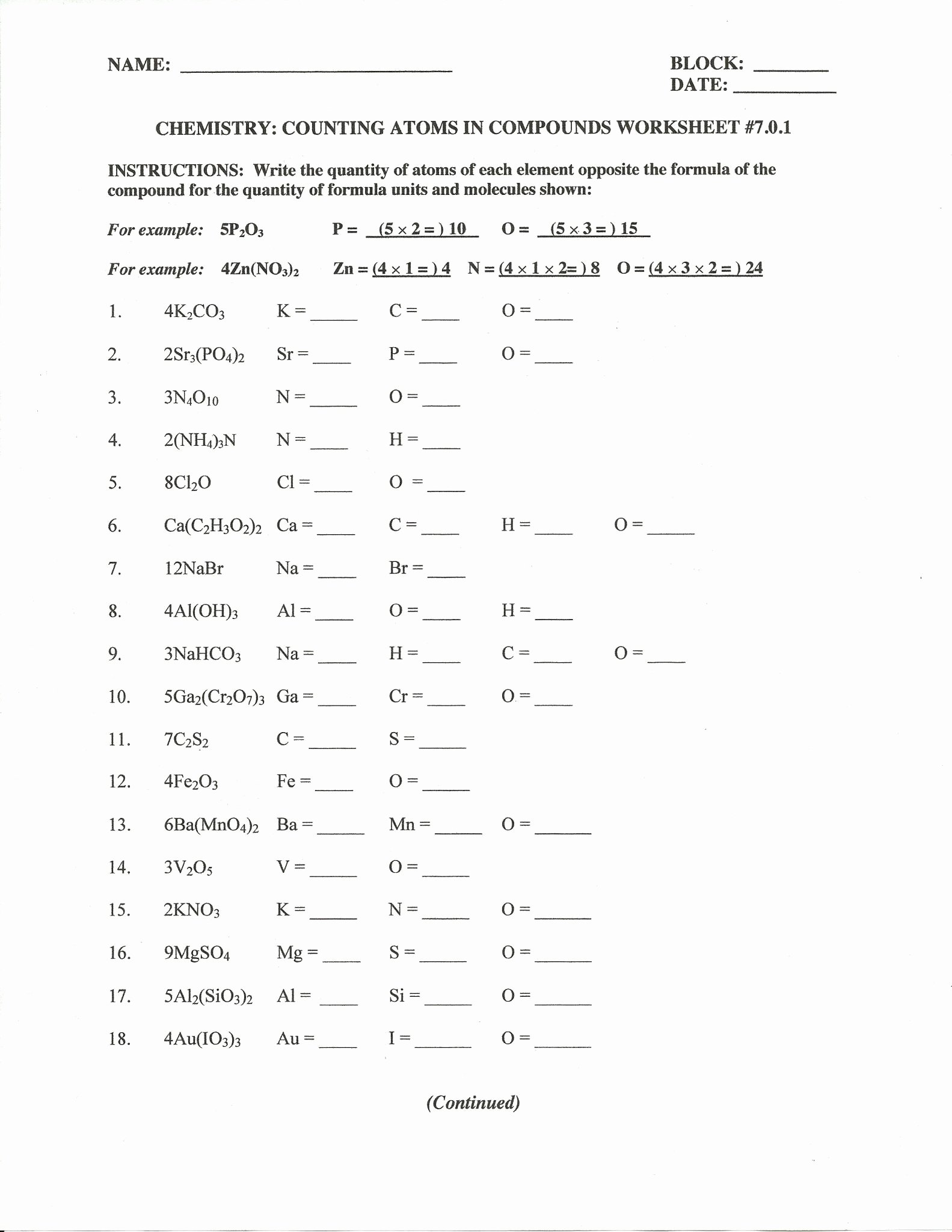 Counting atoms Worksheet Answer Key Awesome Counting atoms Worksheet Answers