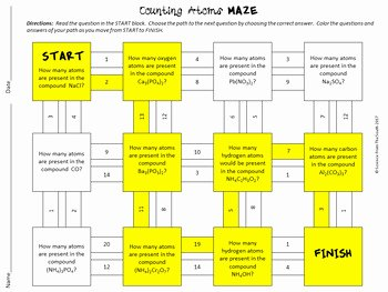 Counting atoms Worksheet Answers Inspirational Counting atoms In Chemical formulas Maze Worksheet for