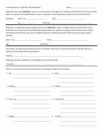 Counting atoms Worksheet Answers Luxury Counting atoms Worksheet Answers