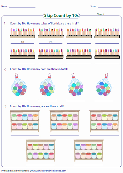Counting by 10s Worksheet Beautiful Skip Counting by 10s Worksheets