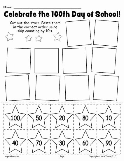 Counting by 10s Worksheet Best Of Free Printable 100th Day Of School Skip Counting by 10 S