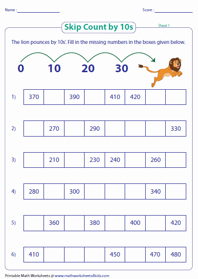 Counting by 10s Worksheet Fresh Skip Counting by 10s Worksheets