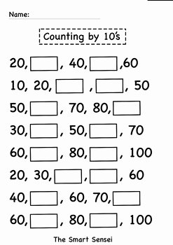 Counting by 10s Worksheet Inspirational Counting by 10 S Fill In the Blank Worksheet by the Smart