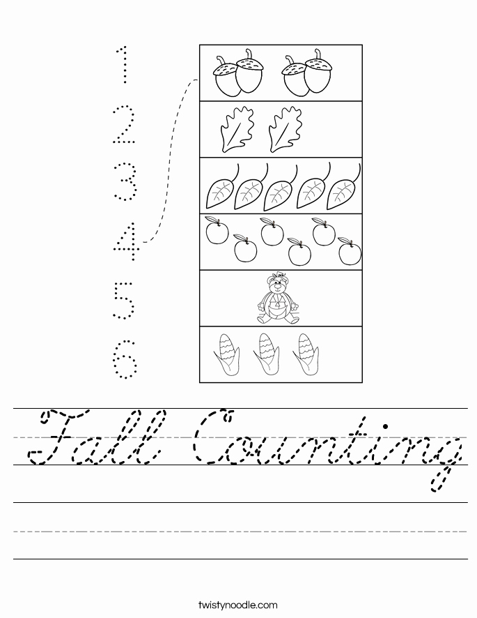 Counting by 2's Worksheet Luxury Fall Counting Worksheet Cursive Twisty Noodle