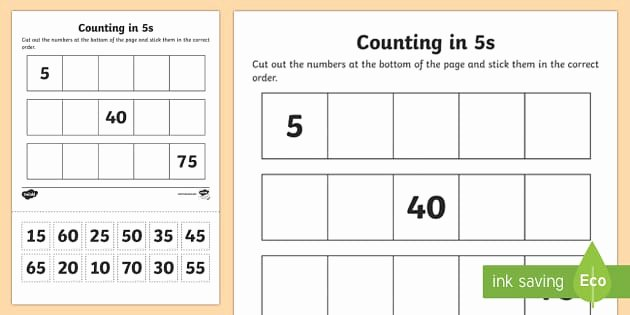t n 1374 counting in 5s cut and stick worksheet