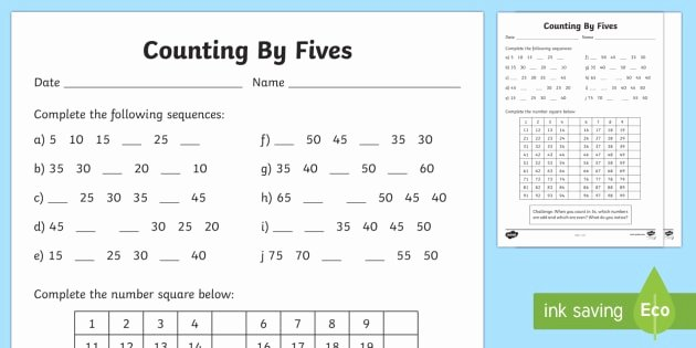 Counting by 5s Worksheet Fresh Counting by 5s Worksheet Activity Sheet F 2 Skip