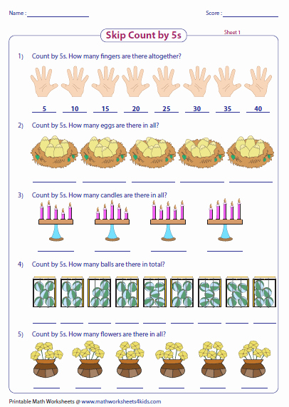 Counting by 5s Worksheet New Skip Counting by 5s Worksheets
