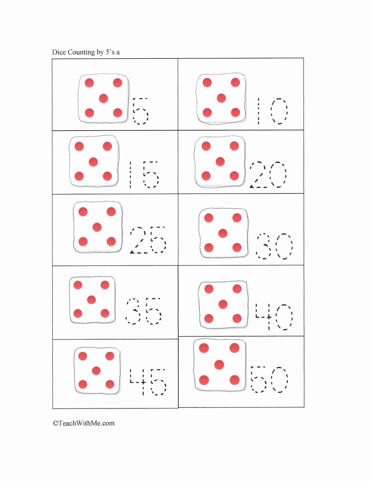 Counting by 5s Worksheet Unique Stuff to Play & Make Dice Games Classroom Freebies