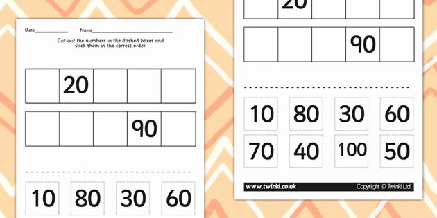 Counting In 10s Worksheet Awesome Counting In 10s Cut and Stick Worksheet