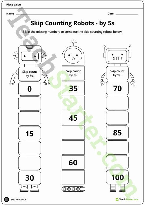 Counting In 10s Worksheet Awesome Skip Counting Robot Worksheets 2s 5s and 10s Teaching