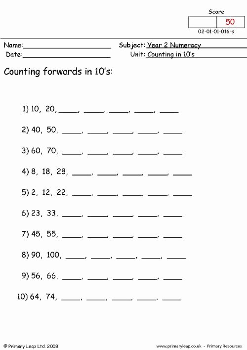 Counting In 10s Worksheet Beautiful Counting In 10s 1