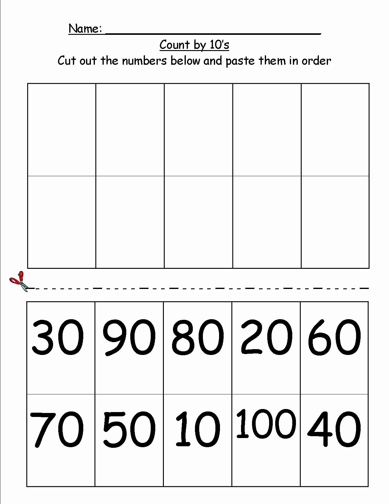Counting In 10s Worksheet Lovely Counting by 10 S Cut N Paste 1st Grade Find More Fun