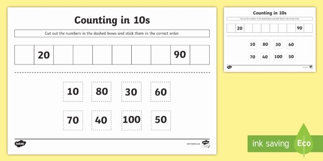 Counting In 10s Worksheet Unique Counting In 10s Cut and Stick Worksheet Ks1 Skip Counting