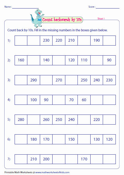 Counting In 10s Worksheet Unique Skip Counting by 10s Worksheets