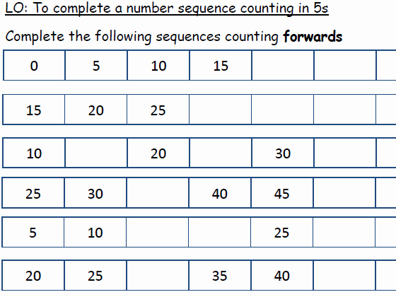 Counting In 5s Worksheet Beautiful Number Sequences Differentiated Worksheets Counting In
