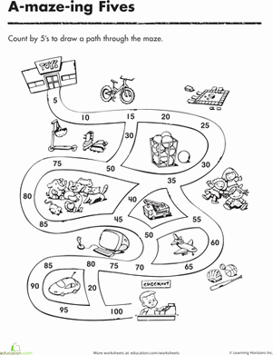 Counting In 5s Worksheet Inspirational Count by 5 S and Make It Through the Maze