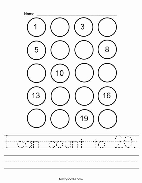 Counting to 20 Worksheet Awesome I Can Count to 20 Worksheet Twisty Noodle