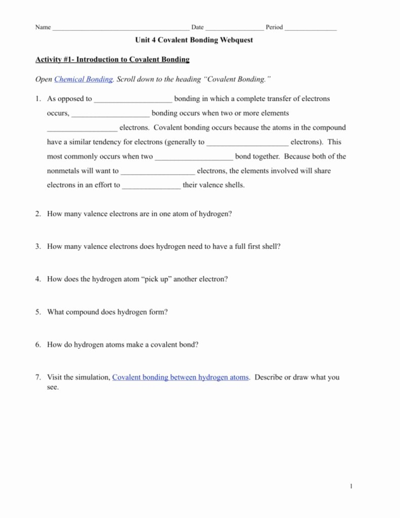 Covalent Bonding Worksheet Answer Key New Amazing Covalent Bonding Webquest E Example From 5