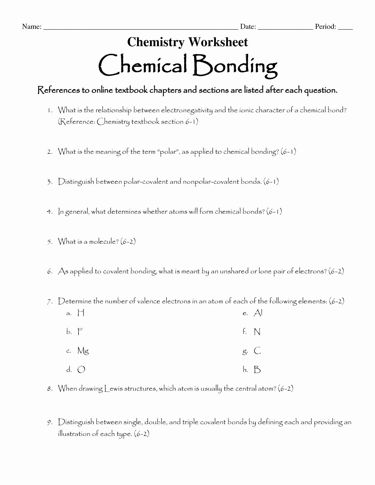 Covalent Bonding Worksheet Answer Key Unique 16 Best Of Types Chemical Bonds Worksheet