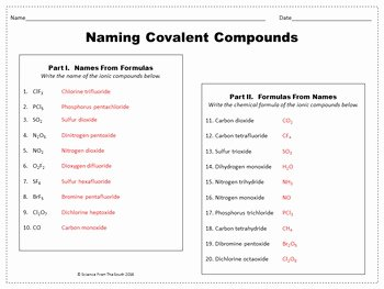 Covalent Bonding Worksheet Answer Key Unique Naming Covalent Pounds Worksheet for Review or