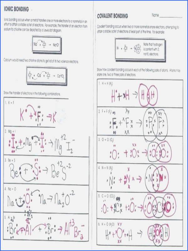 Covalent Bonding Worksheet Answers Lovely Ionic Bonding Worksheet