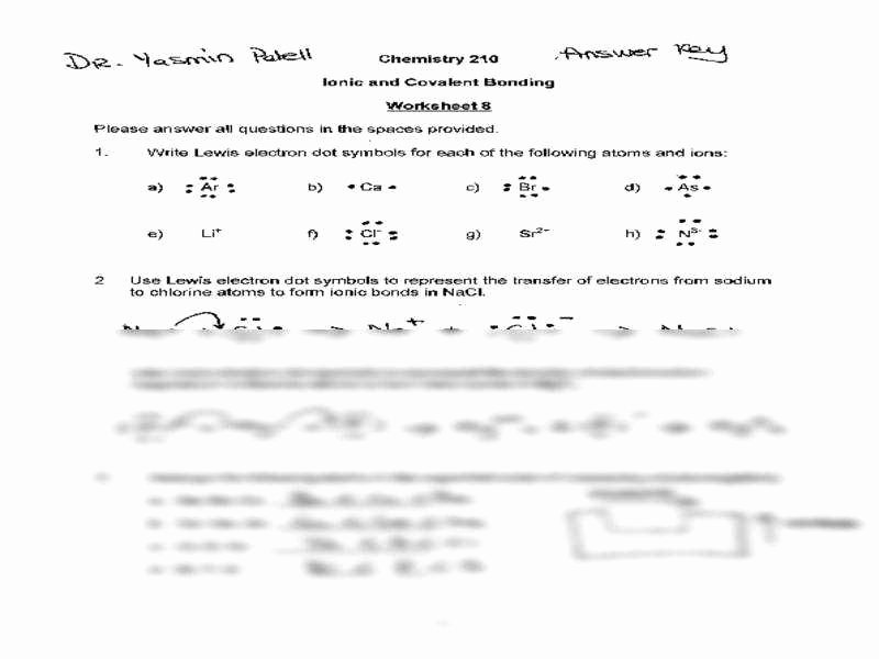covalent bonding worksheet answers
