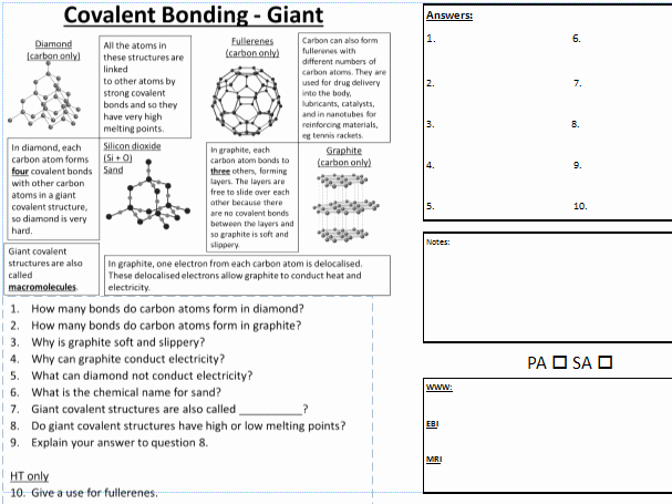 Covalent Bonding Worksheet Answers New C2 Giant Covalent Bonding Pasa Dirt Learning Worksheet