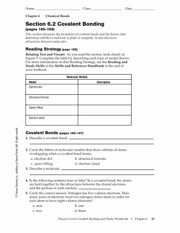 Covalent Bonding Worksheet Answers New Types Of Bonds and Covalent Bonding Worksheet Colina
