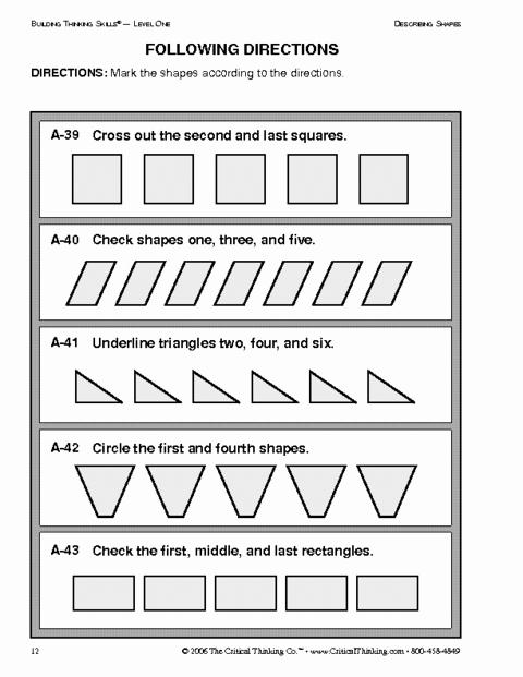 Critical Thinking Skills Worksheet Beautiful Critical Thinking Following Directions Worksheet