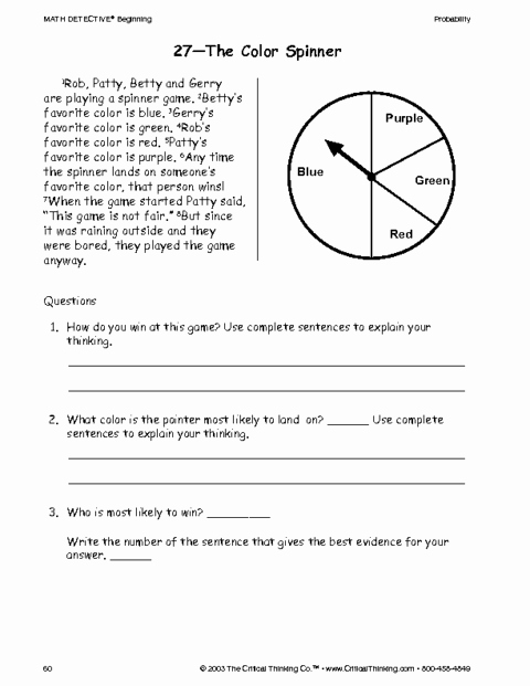 Critical Thinking Skills Worksheet Beautiful Critical Thinking Worksheet Grades 3 5 Color Game
