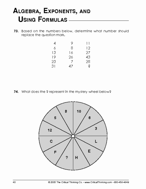 Critical Thinking Skills Worksheet Inspirational Critical Thinking Worksheet Grades 6 8 Mathematical