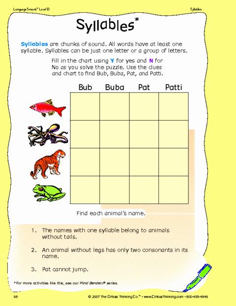 Critical Thinking Skills Worksheet Inspirational Critical Thinking Worksheet Grades K 2 Syllables