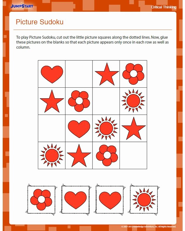 Critical Thinking Skills Worksheet Inspirational Picture Sudoku Free Critical Thinking Worksheet for