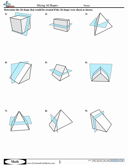 Cross Section Worksheet 7th Grade Beautiful Shapes Worksheets