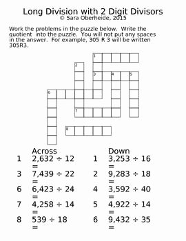 Cross Section Worksheet 7th Grade Elegant Free Long Division Crossword Puzzles Classroom