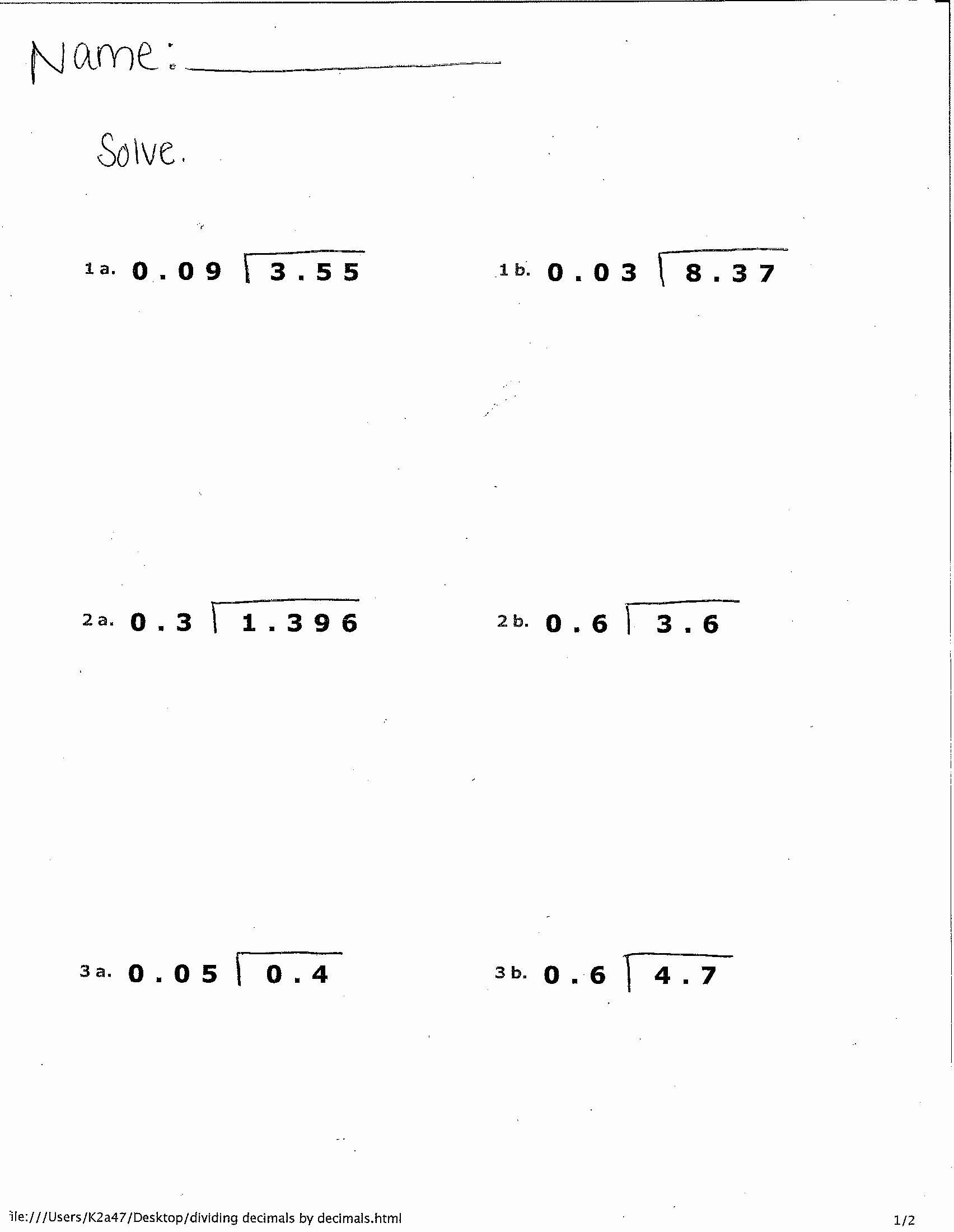 operations with decimals worksheet printable 7th grade practice