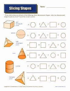 Cross Section Worksheet 7th Grade Luxury Slicing Shapes